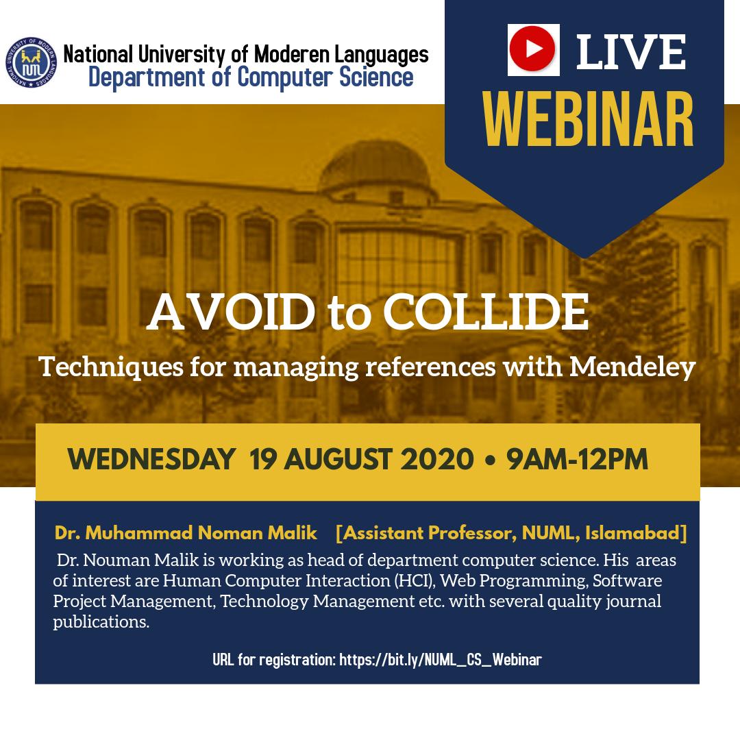 Webinar on 'Avoid to Collide'