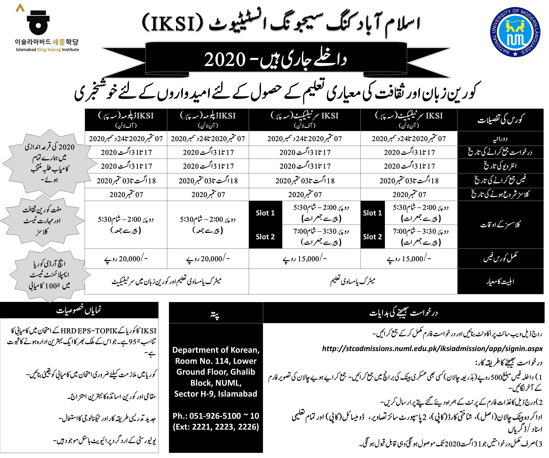 2020    داخلےجاری ہیں  - (IKSI) اسلام آباد کنگ سیجونگ انسٹیٹیوٹ