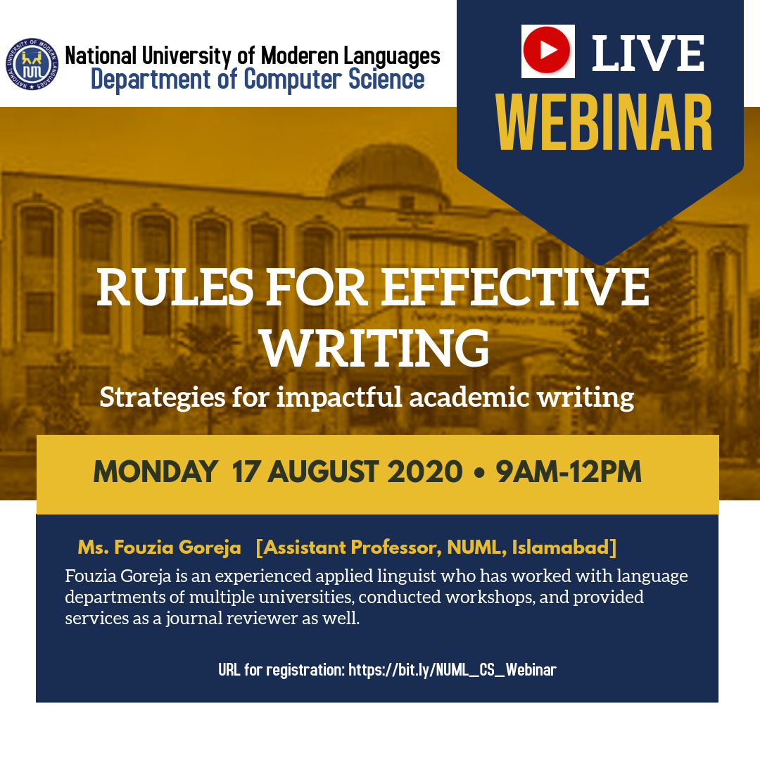 Webinar on 'Rules for Effective Writing'