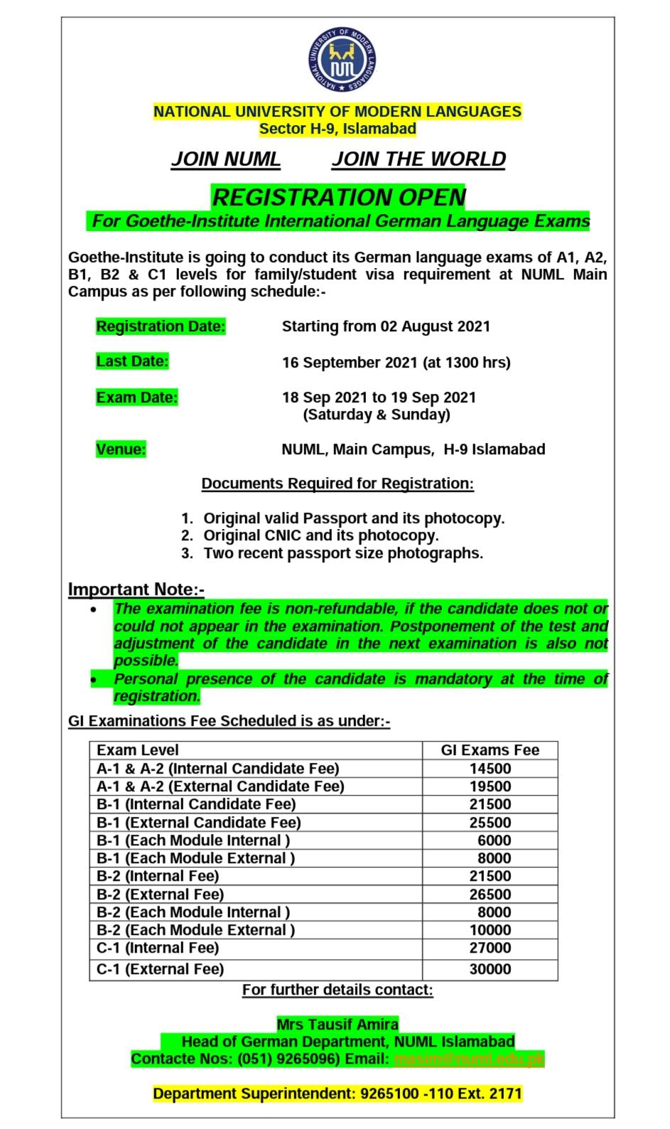 Registration open for Goethe Institute Exam
