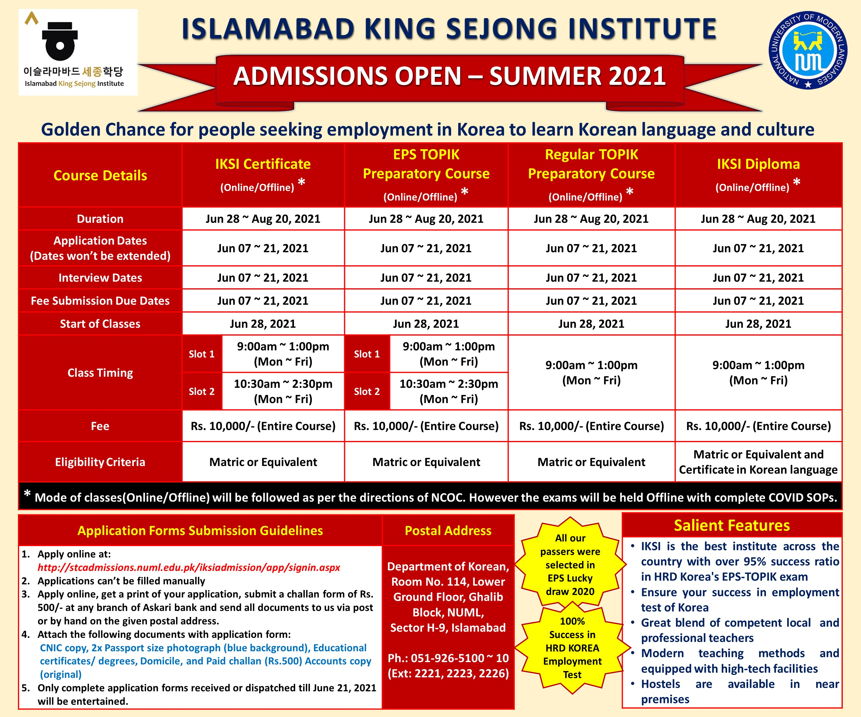 ISLAMABAD KING SEJONG INSTITUTE - SUMMER 2021 ADMISSION OPEN