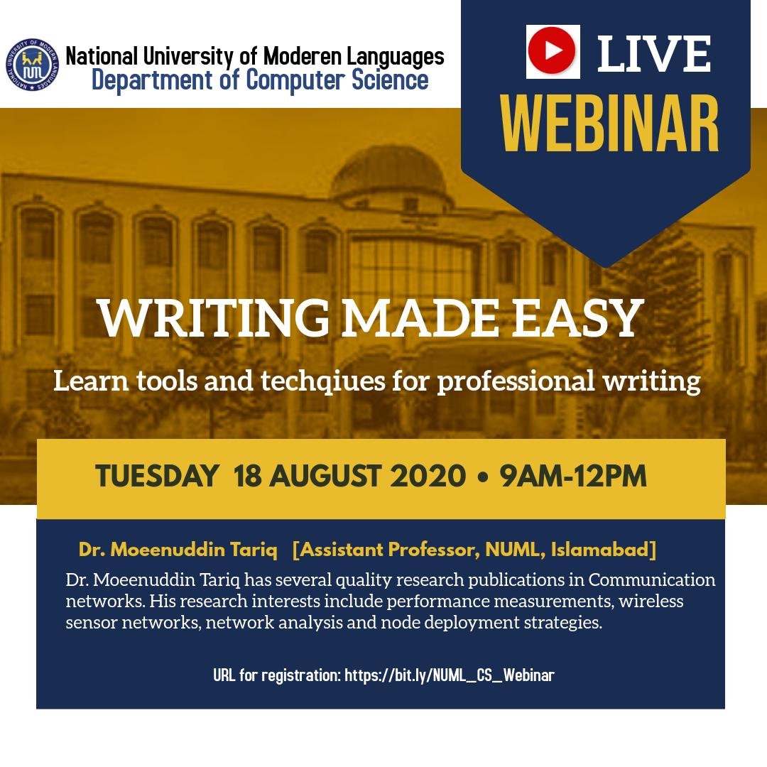 Webinar on 'Writing Made Easy'