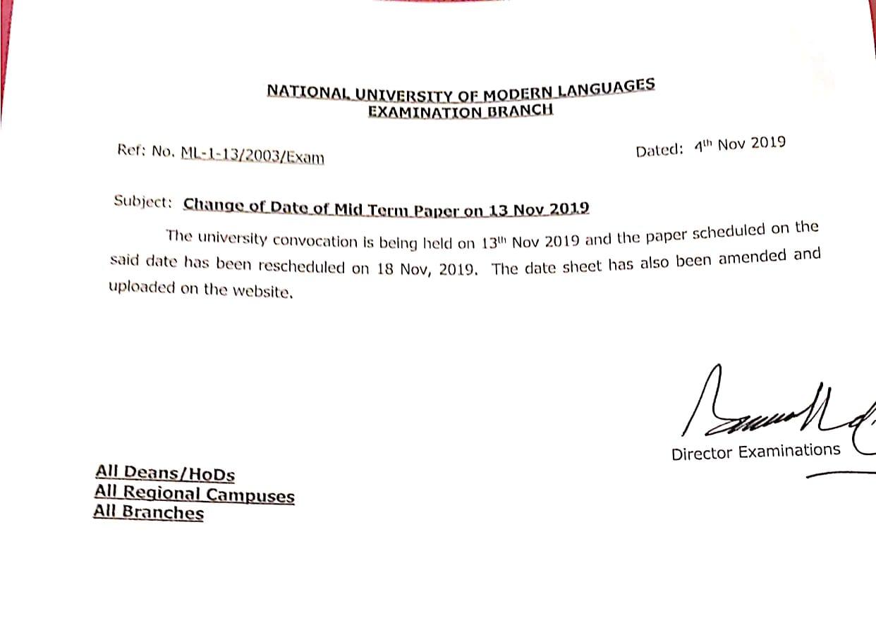 Reschedule of Mid-Term Paper