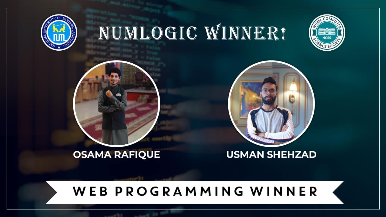 Winners of 'Web Programming' for NUMLogic 2019
