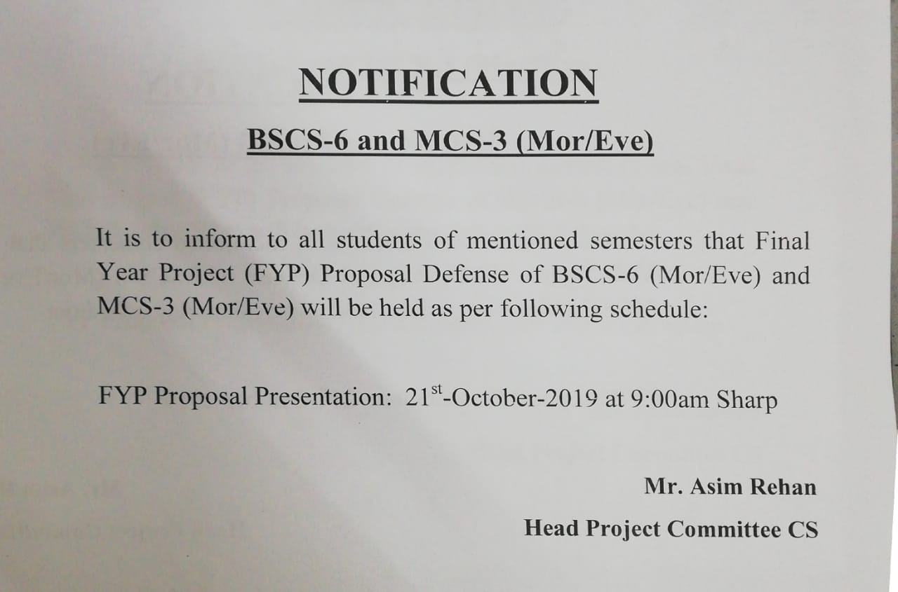 """""""Proposal Defense"""" for 'Final Year Projects'"""