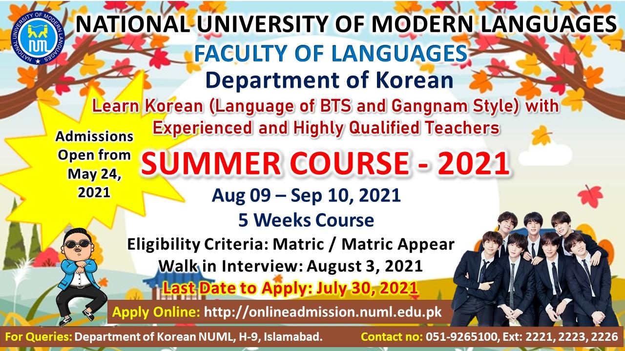 ADMISSSION OPEN - Summer Course - KOREAN Language