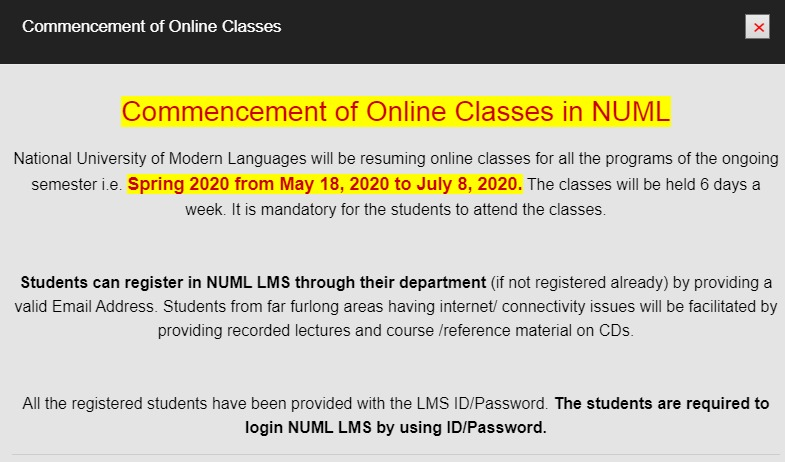 Commencement of Online Classes