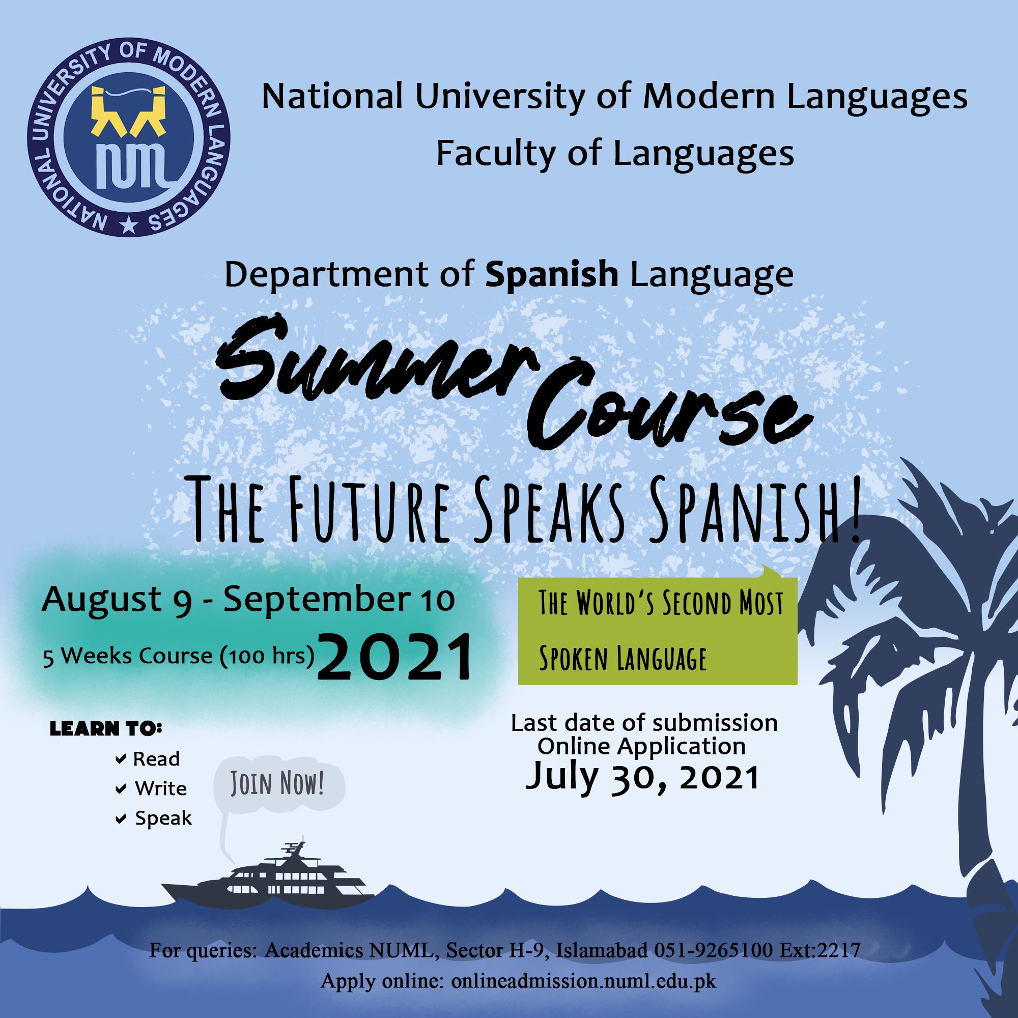 Spanish Language Short Summer Course 2021