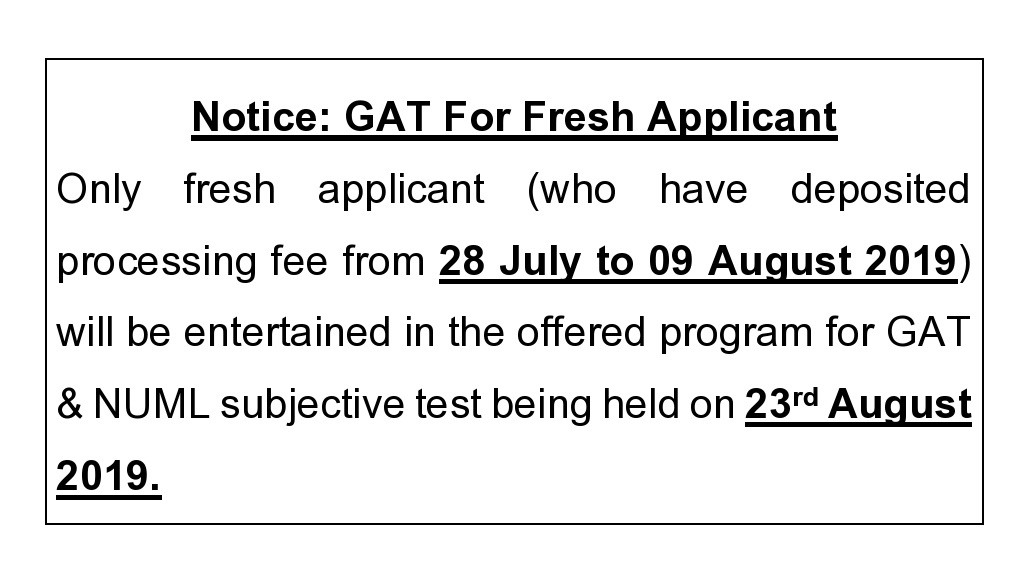 Notice: GAT for fresh Applicants