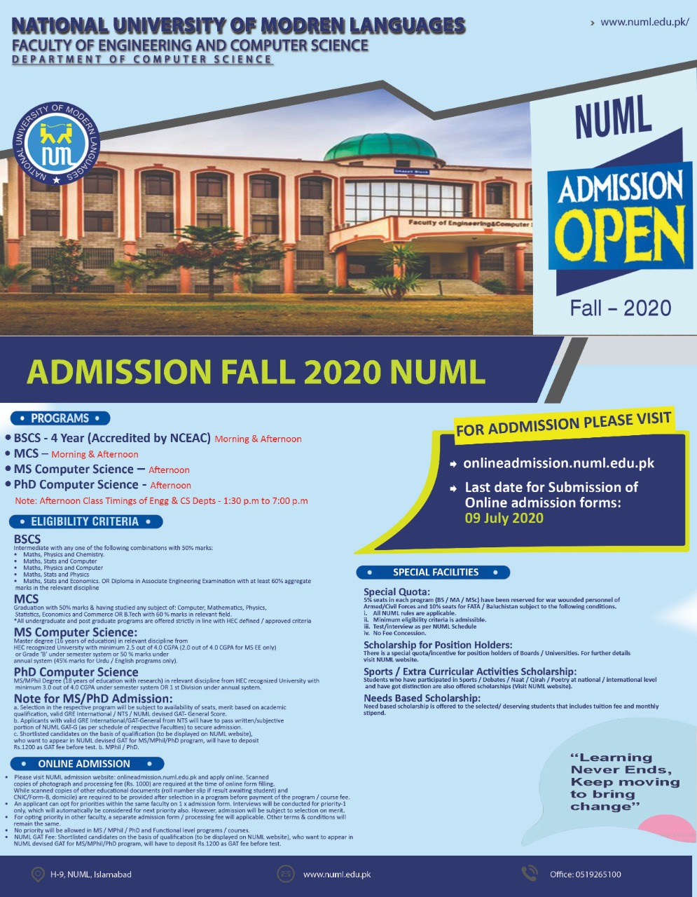 New Admissions for Fall 2020