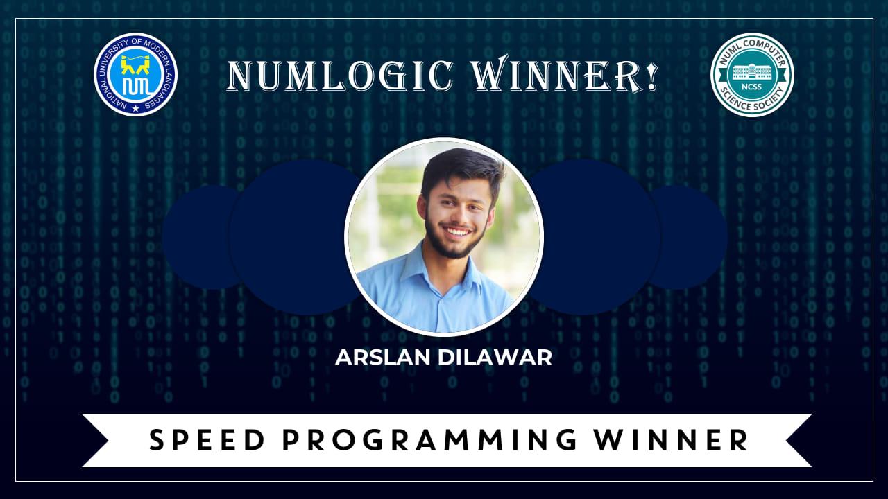 Winner of 'Speed Programming' for NUMLogic 2019