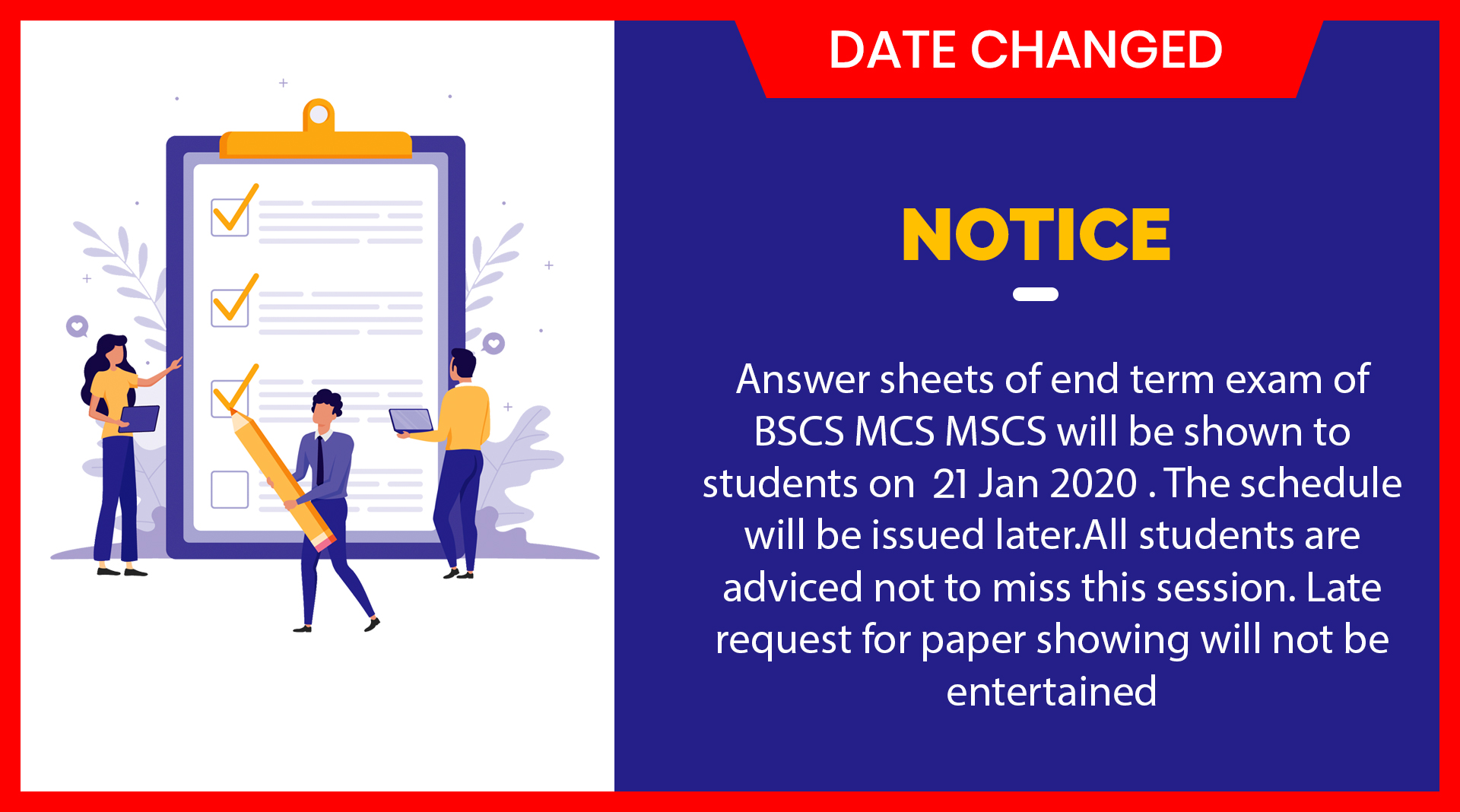 New Date for 'Showing' of 'Final Term Papers'