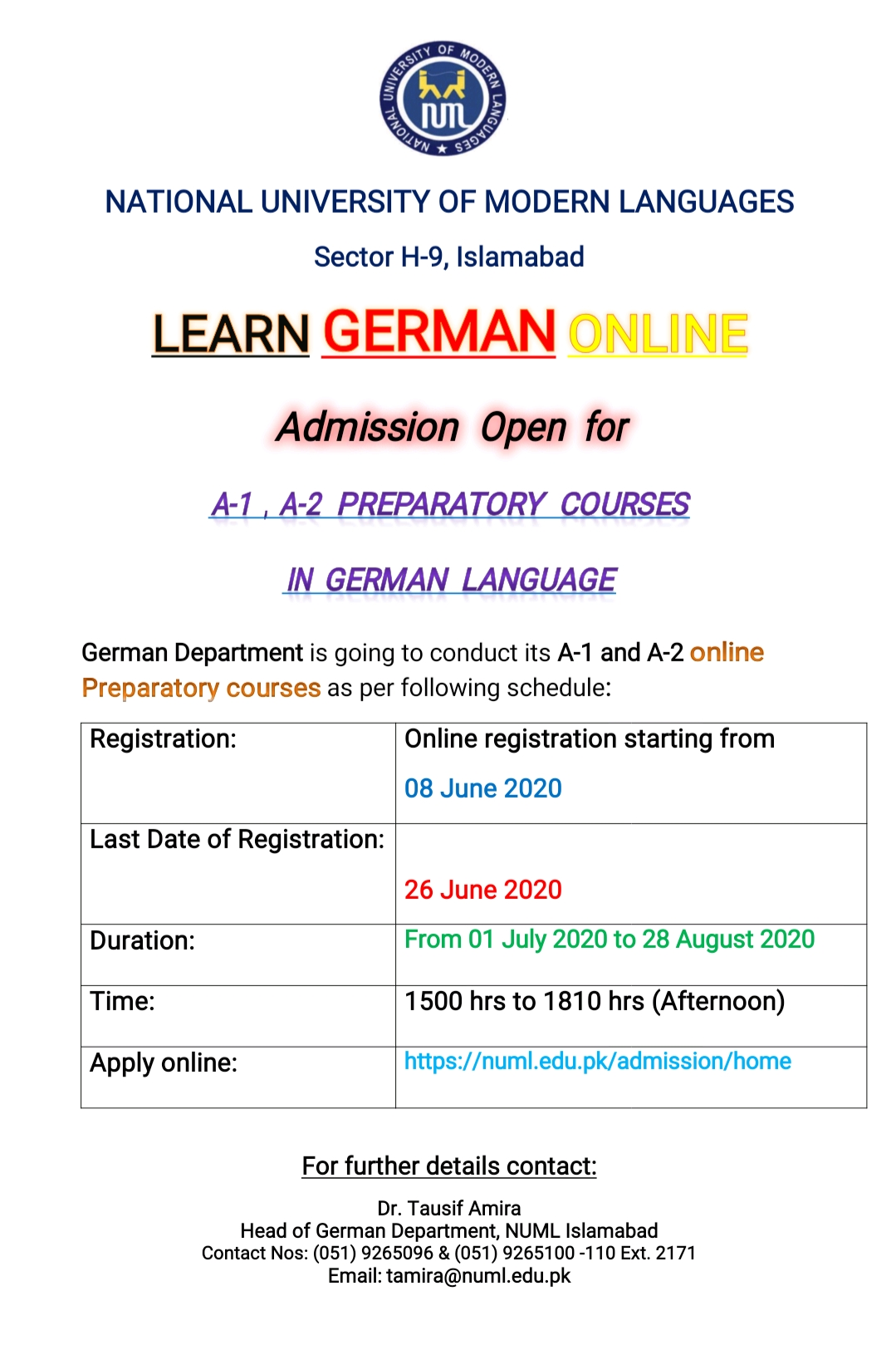 ADMISSION OPEN For A1, A2  Online Preparatory courses in German Language