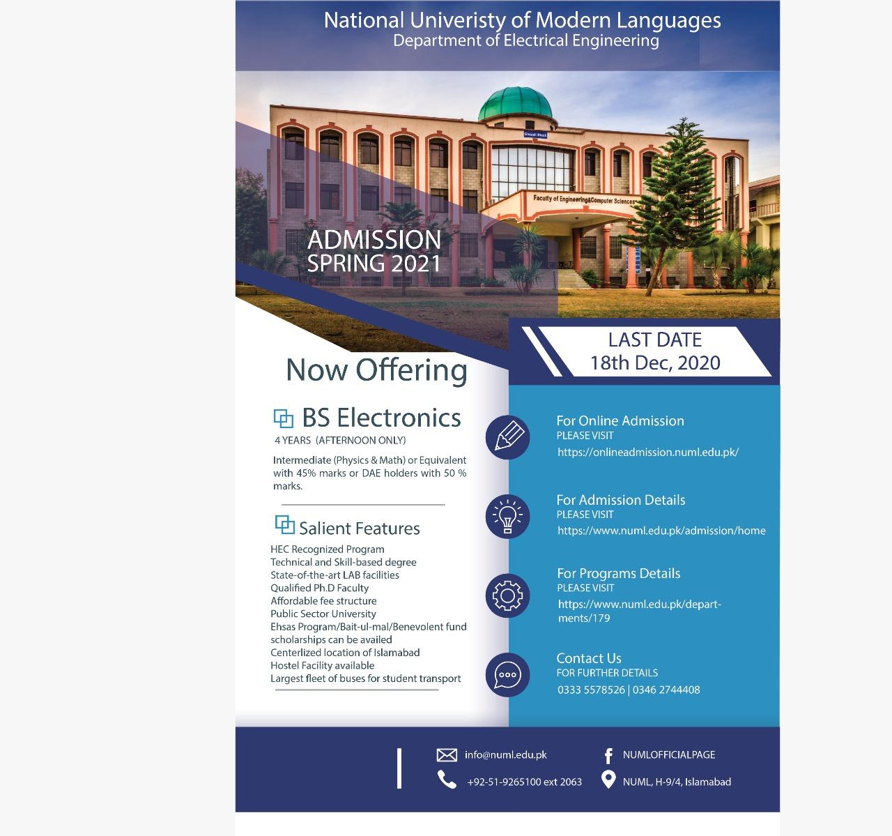 Admission Spring 2021 BS Electronics Program