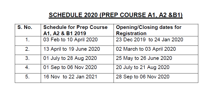 Schedule for Preparatory Courses: A1, A2 and B1 Levels