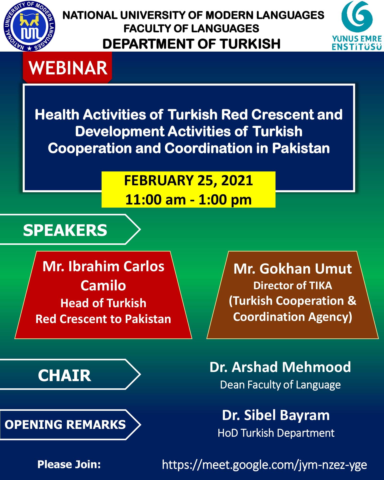 Webinar: Health Activities of Turkish Red Crescent and Development Activities of Turkish Cooperation and Coordination in Pakistan